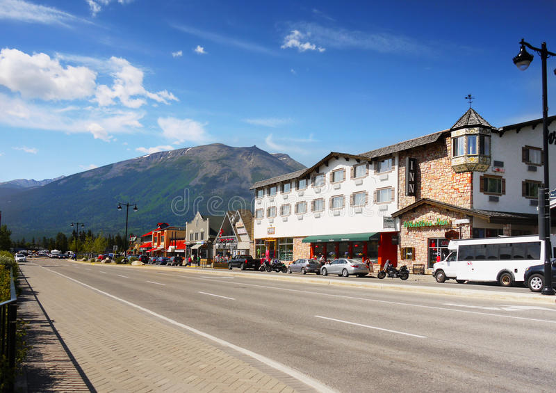 Jasper Canada. Jasper town street view, Canada royalty free stock photography