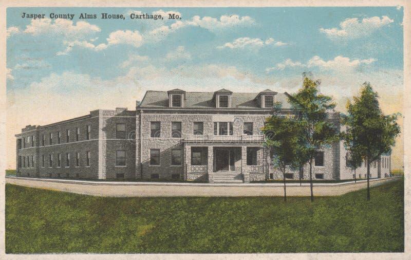 Jasper County Alms House Postcard Carthage Mo stock photography