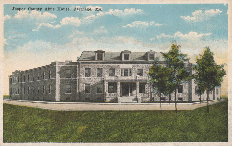 Jasper County Alms House Postcard Carthage MOIS photographie stock
