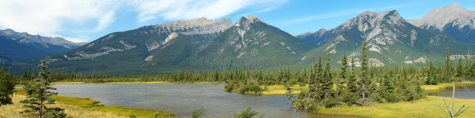 Jasper lake and rocky mountains. Summer view of the jasper lake and rocky mountains in the jasper national park, alberta, canada stock image