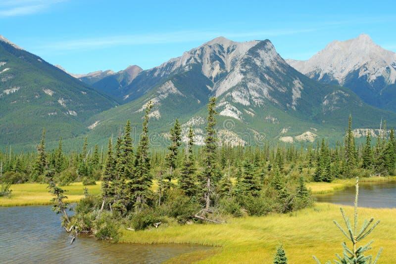 Jasper See und Berge stockbild