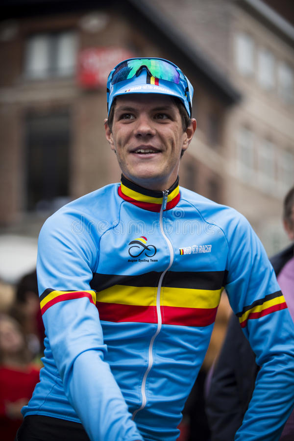 Jasper Stuyven in GP Jef Scherens (Lovanio) immagini stock
