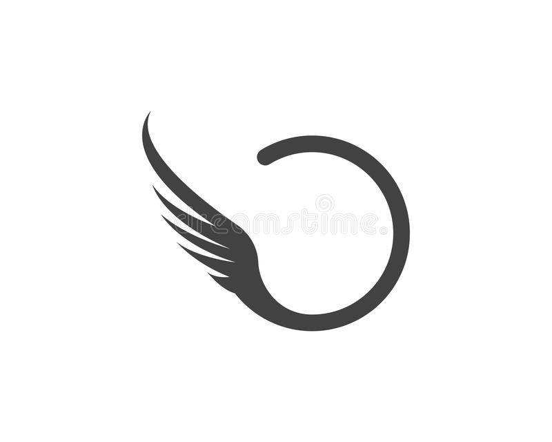 Jastrząbka loga Skrzydłowego szablonu ikony wektorowy projekt ilustracja wektor