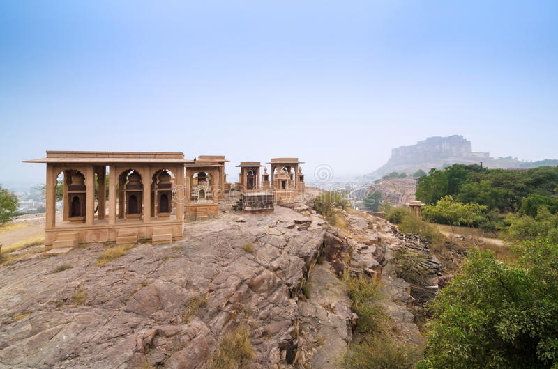 Jaswant Thada mausoleum with mehrangarh fort in the background stock image