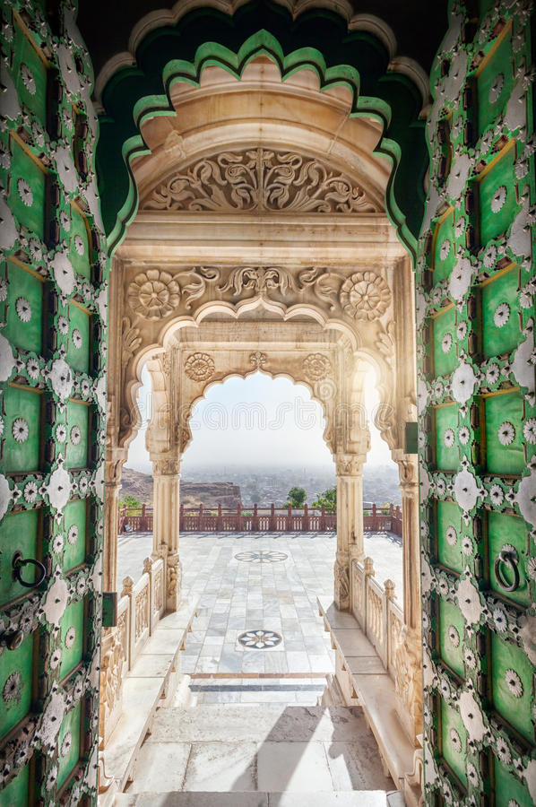 Jaswant Thada memorial door stock image
