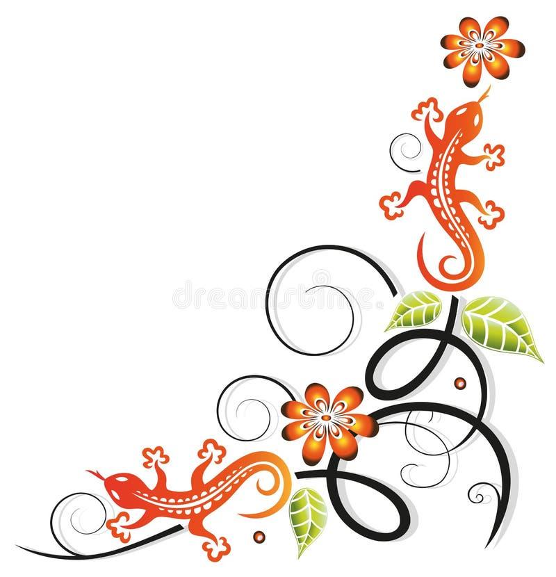 Jaszczurka, Plemienna, kwitnie ilustracji