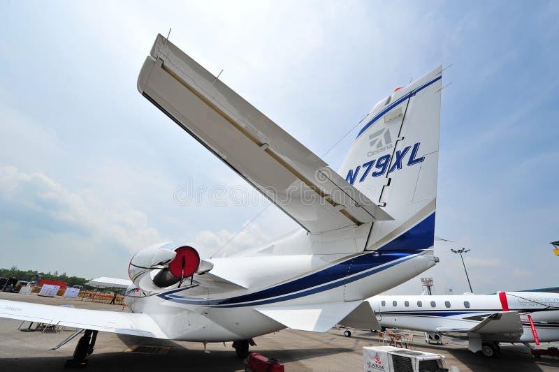 Jato do gêmeo da citação 560XL de Cessna na exposição em Singapura Airshow imagens de stock royalty free