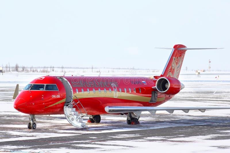 Jato regional CRJ-200ER de RusLine Canadair foto de stock royalty free