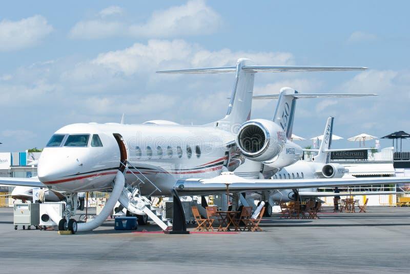 Jatos do negócio de Gulfstream em Singapore Airshow imagem de stock