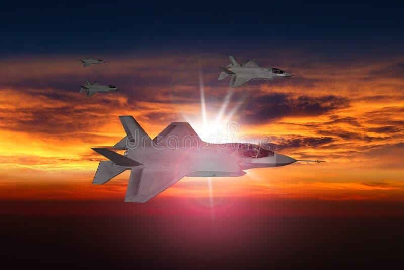 Jatos F-35 no por do sol fotografia de stock royalty free