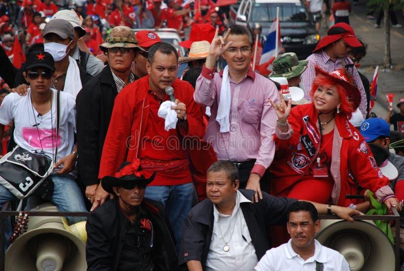 Jatuporn et Korkeaw aboutissent la protestation photographie stock