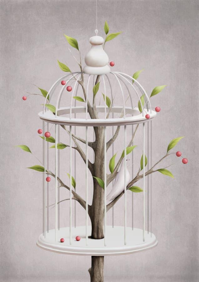 Jaula con un cerezo ilustración del vector