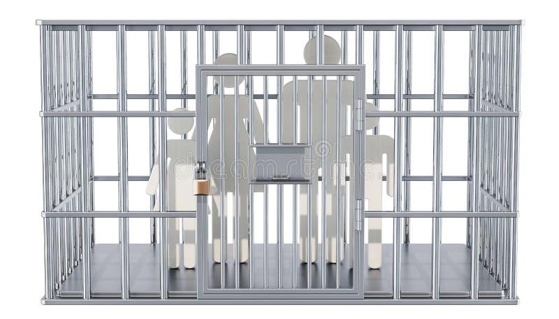 Jaula de acero, celda de prisión con la familia representación 3d ilustración del vector