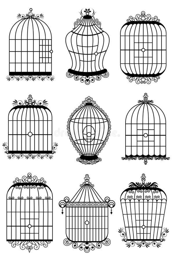 Jaula de pájaro stock de ilustración