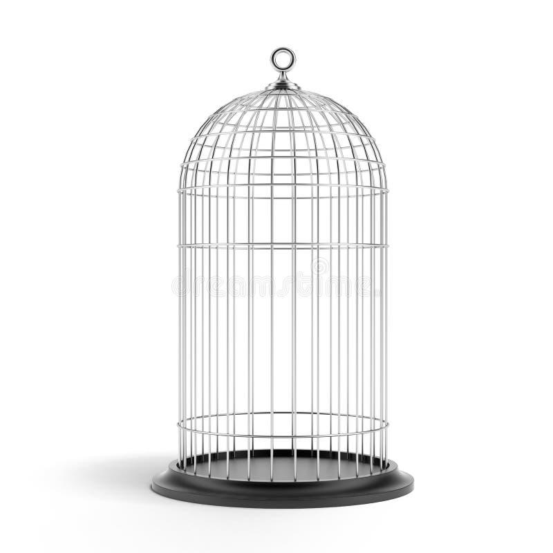 Jaula de pájaros de plata stock de ilustración