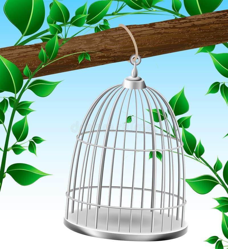 Jaula de pájaros en una rama de árbol ilustración del vector
