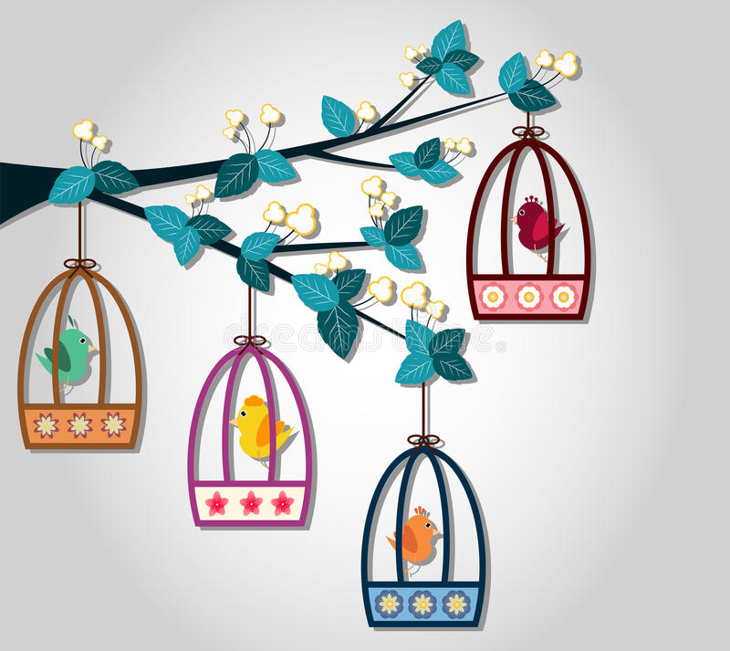Jaula de pájaros hangging en la rama del árbol ilustración del vector