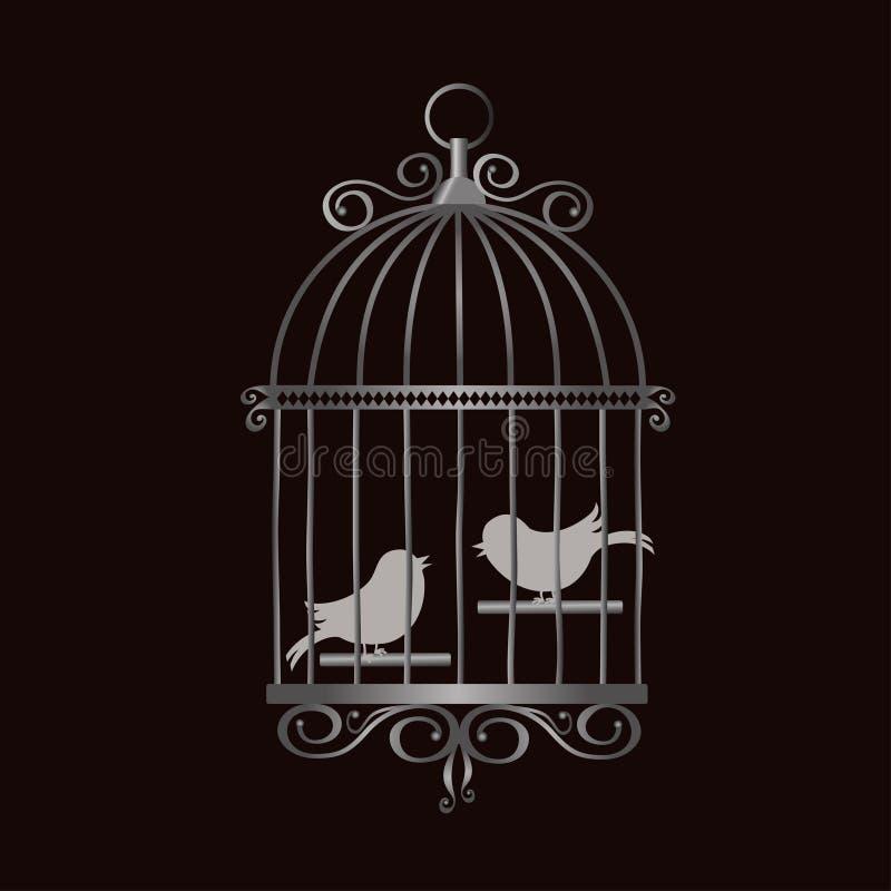 Jaula de pájaros de plata del vintage con las siluetas del pájaro stock de ilustración