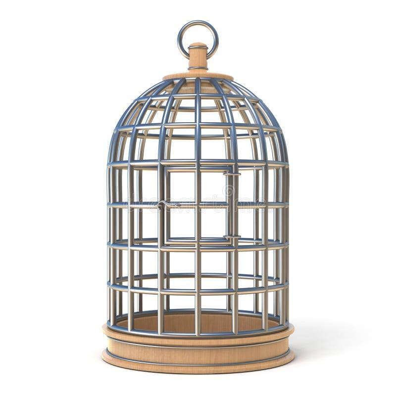 Jaula de pájaros vacía 3D cerrado ilustración del vector