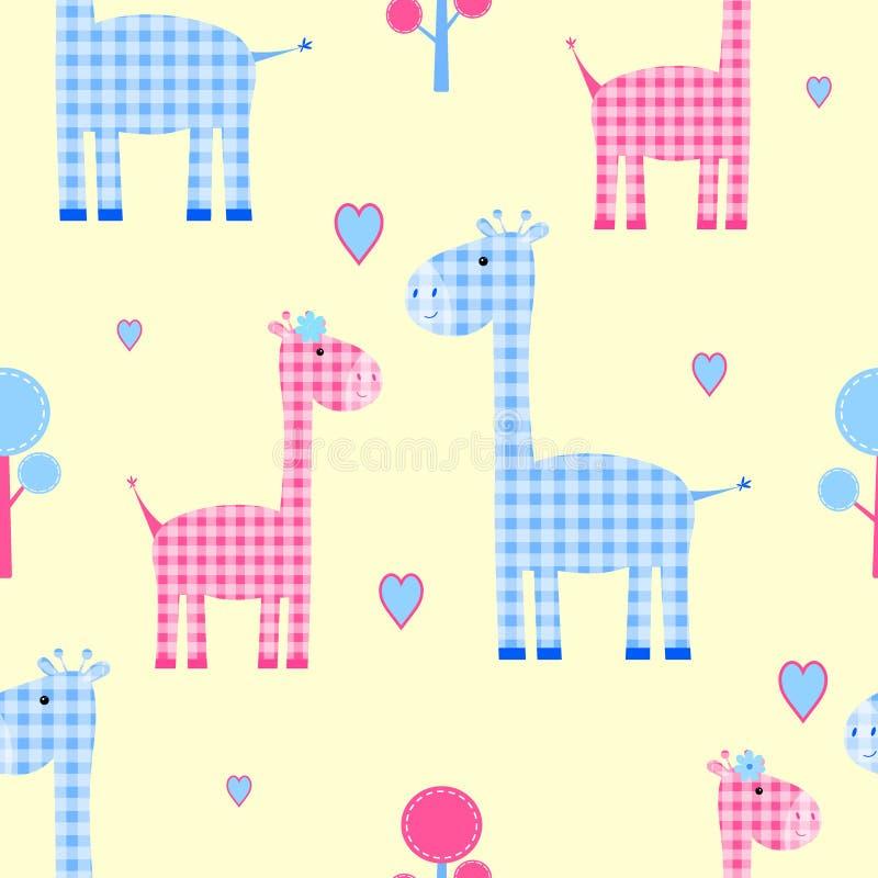 Jaula inconsútil del corazón del modelo de la jirafa linda, stock de ilustración