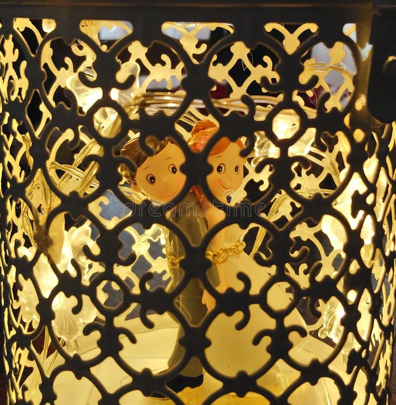 Jaula ligera - decoración de la boda fotografía de archivo