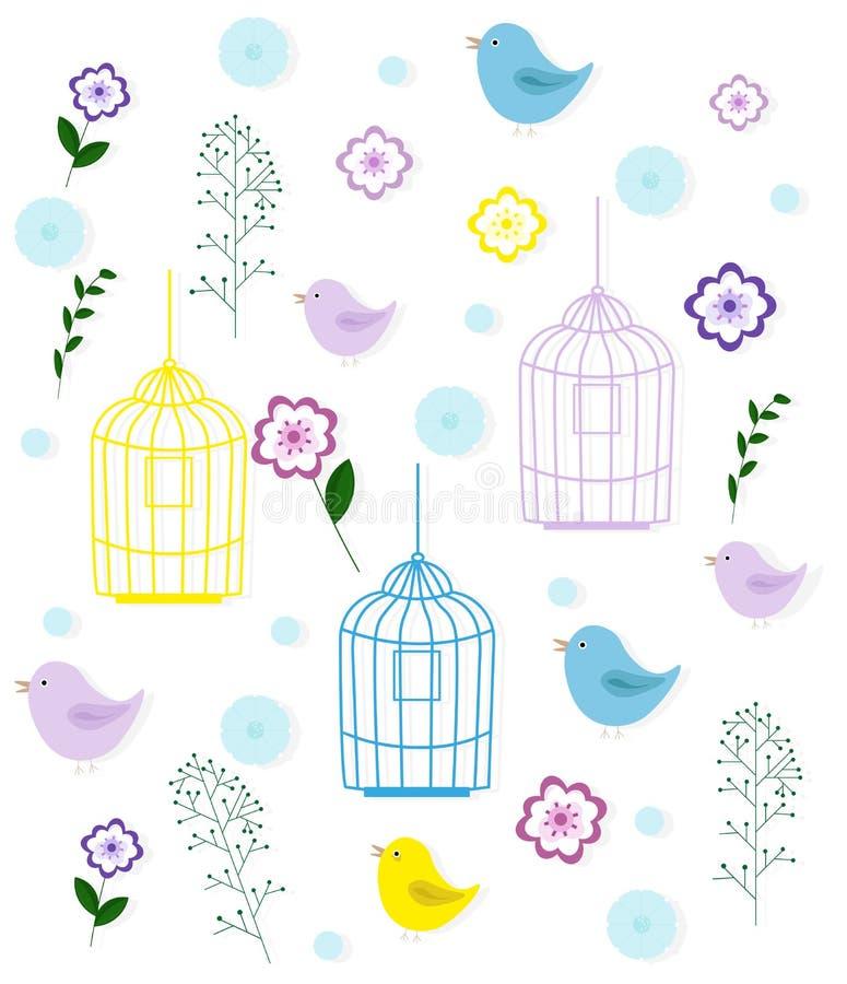 Jaula y estampado de flores de pájaros Embroma el vintage del vector del estilo de la niñez stock de ilustración