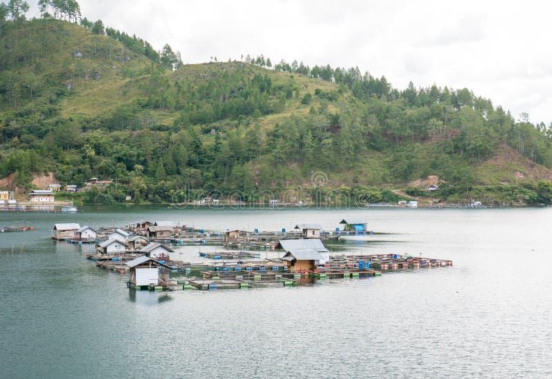 Jaulas flotantes de los pescados que cultivan en Lut Tawar Lake, Takengon, Ace imágenes de archivo libres de regalías