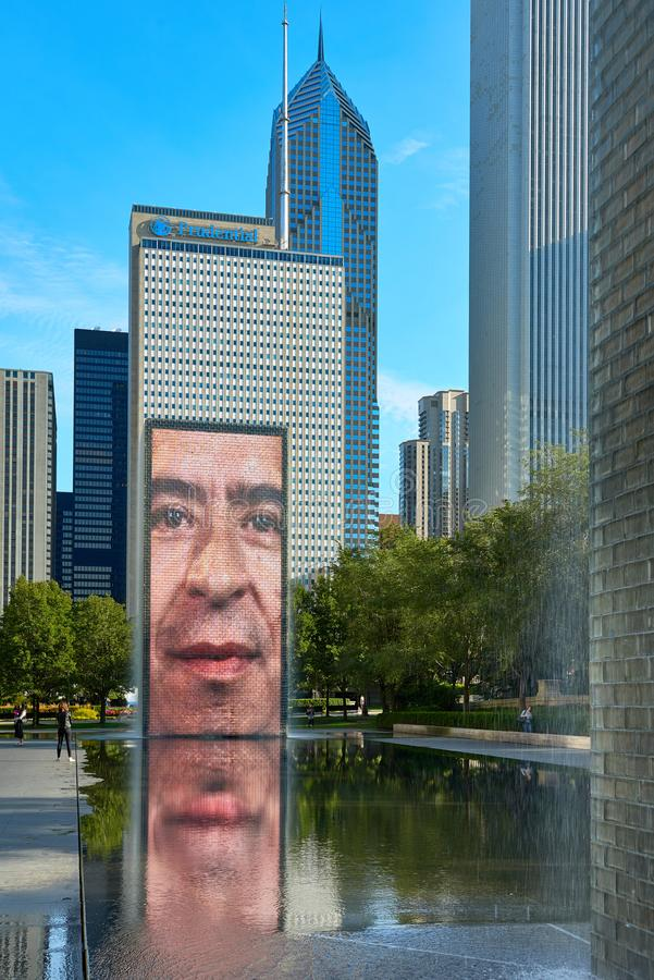 The Jaume Plensa`s Crown fountain in Millennium Park, Chicago. CHICAGO,IL - SEPTEMBER 2, 2017 : The Jaume Plensa`s Crown fountain in Millennium Park, Chicago stock photography