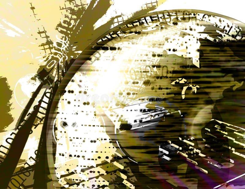 jaune binaire de grunge de globe de la terre illustration de vecteur
