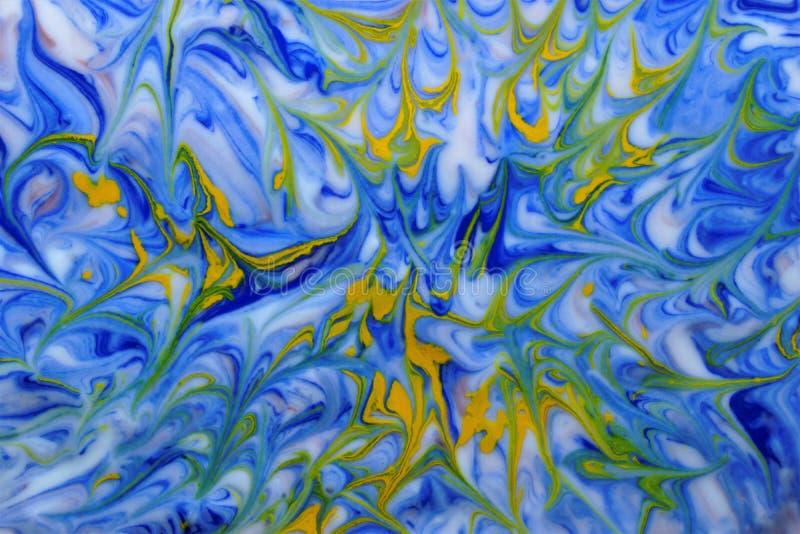 Jaune bleu de texture abstraite d'aquarelle sur le blanc illustration stock