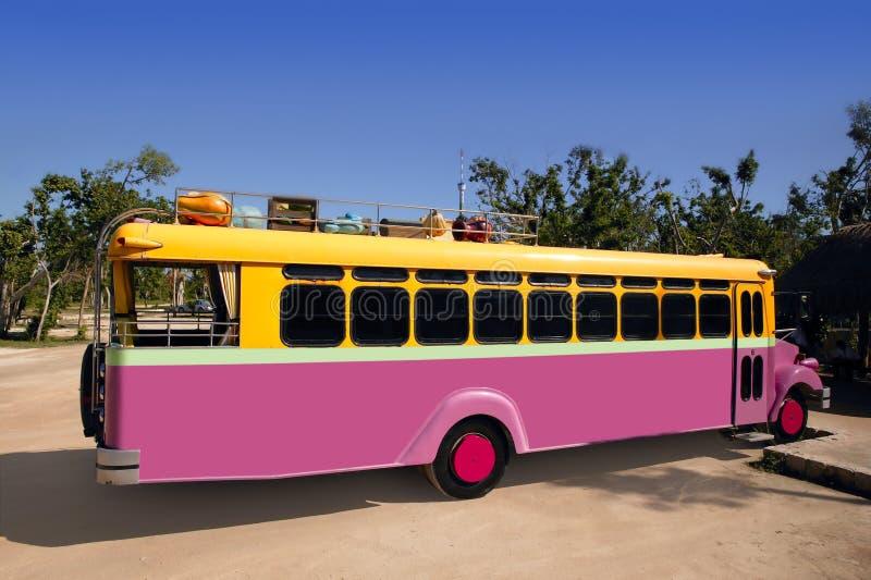 Jaune coloré de bus et tropical touristique rose photographie stock