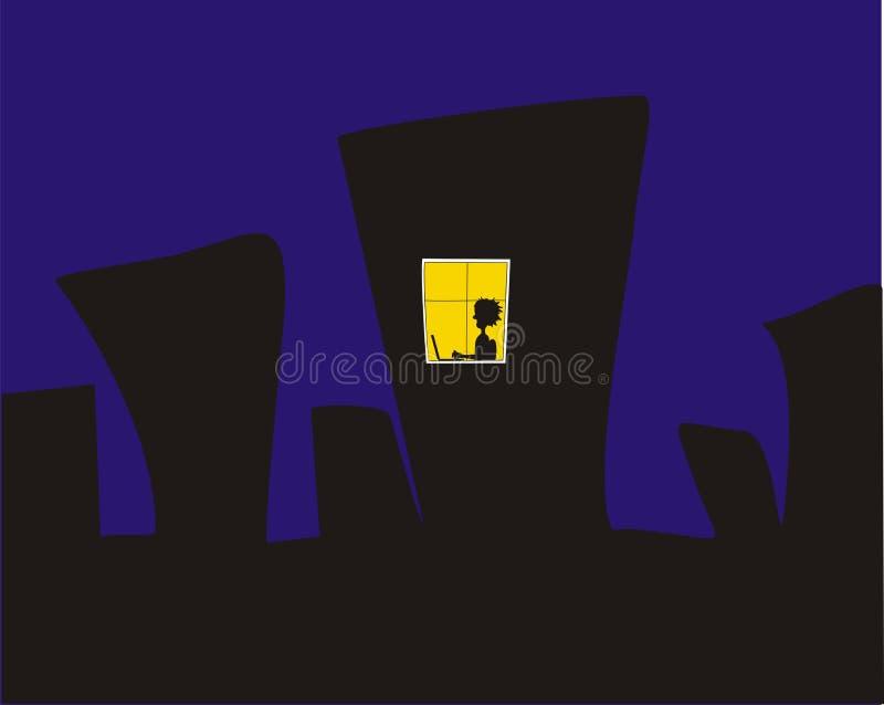 jaune d'hublot de nuit de ville illustration de vecteur
