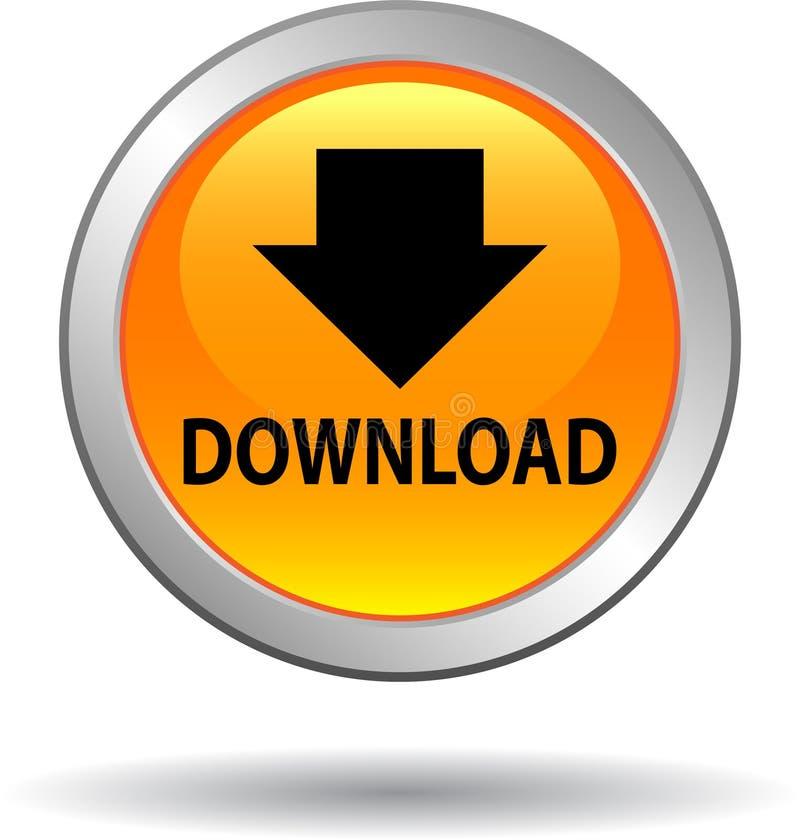 Jaune d'icône de Web de bouton de téléchargement illustration de vecteur