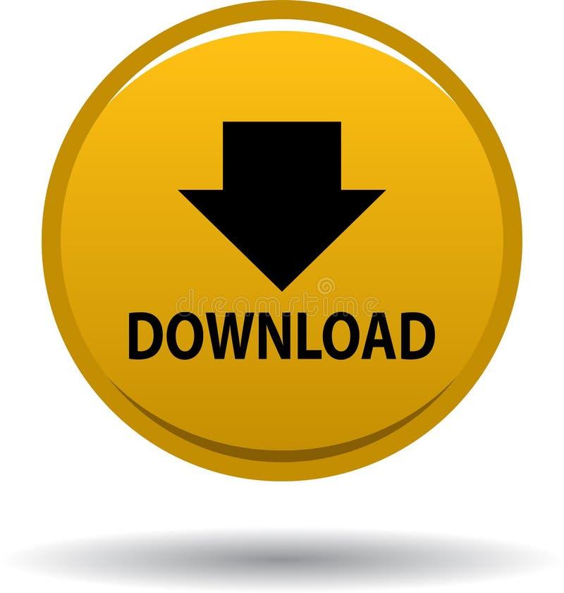 Jaune d'icône de Web de bouton de téléchargement illustration libre de droits