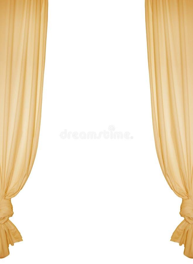jaune d'isolement par rideau images stock