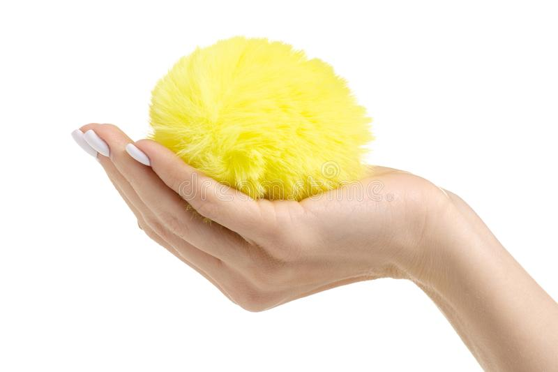 Jaune de boule de fourrure à disposition photos libres de droits