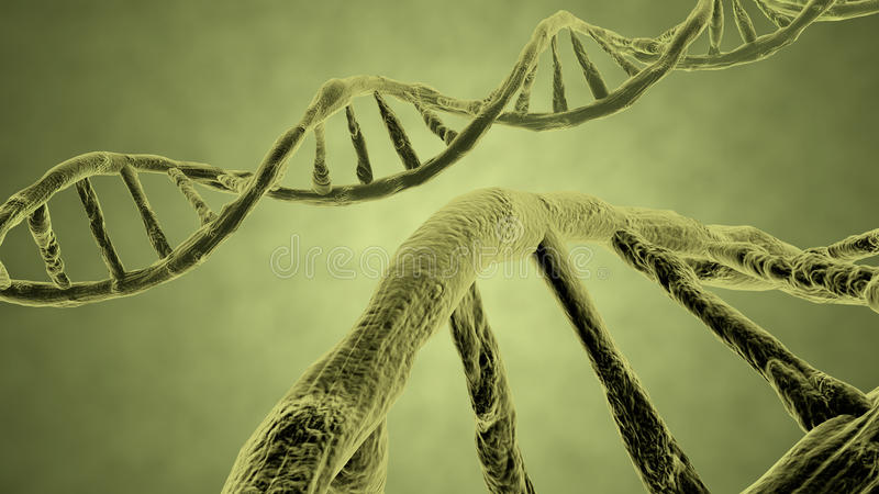 Jaune de brin d'ADN illustration stock