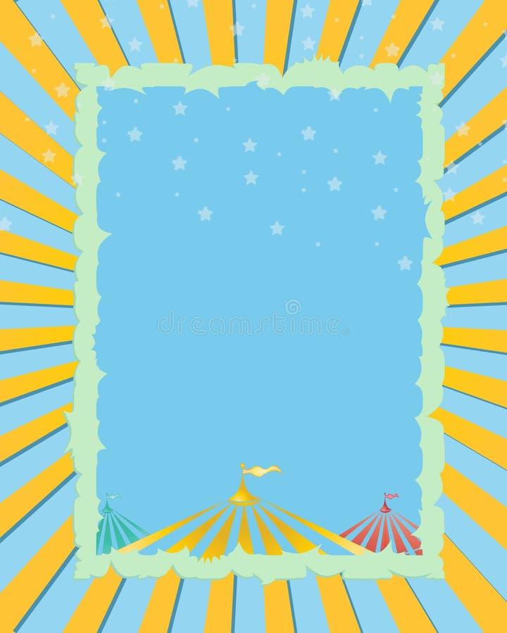 Jaune de cirque, fond bleu illustration stock