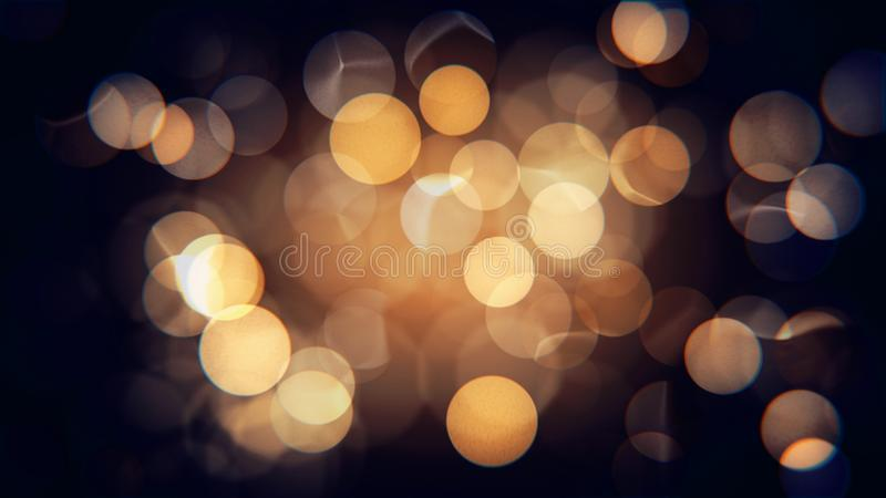 Jaune de fête brouillé d'isolement par résumé et lumières de Noël oranges avec le bokeh photos libres de droits