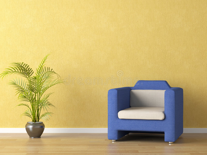Download Jaune De Mur De Divan De Bllue Illustration Stock - Illustration du home, décoration: 8660766