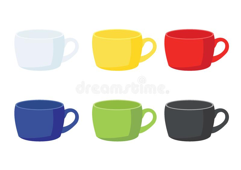 Jaune de tasse de café sur le fond blanc illustration de vecteur