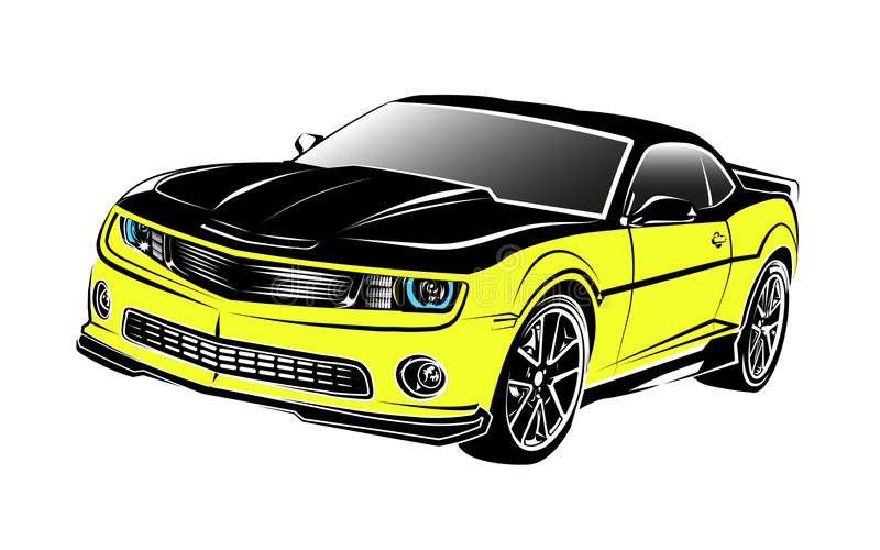 jaune de voiture de muscle illustration libre de droits