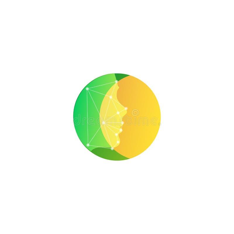 Jaune lumineux sur l'icône verte de visage Calibre rond abstrait de logo de vecteur illustration libre de droits