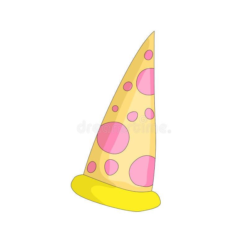 Jaune savoureux une tranche d'icône de bande dessinée de pizza Pizza italienne d'aliments de préparation rapide avec l'icône de v illustration stock