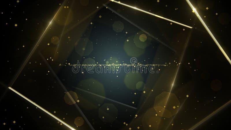 Jaune, tunnel abstrait virtuel de l'espace de fond d'or avec la ligne au néon lumières illustration de vecteur