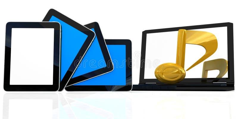 Jaunissez la note à l'ordinateur portatif et aux téléphones illustration stock