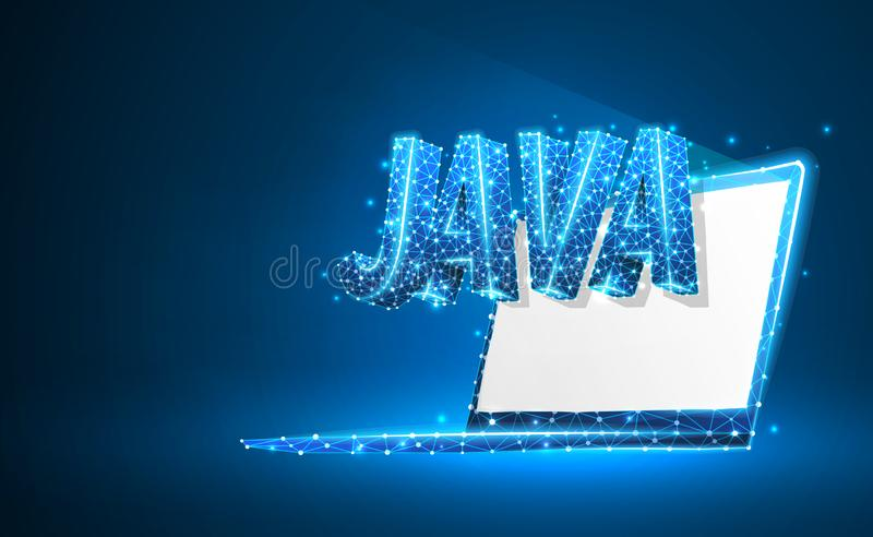JAVA coding language on white notebook screen. Device, programming, developing concept. Abstract, digital, wireframe royalty free illustration