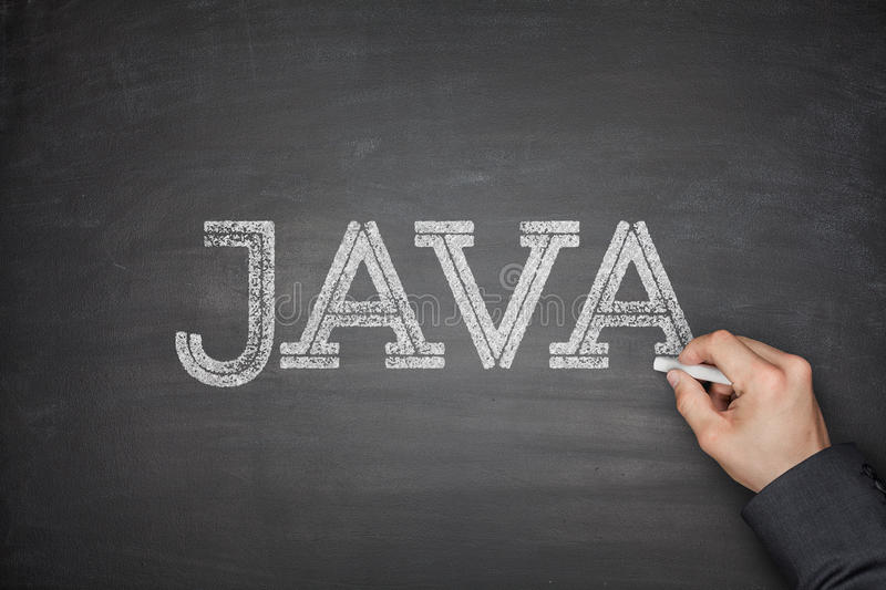 Java concept on blackboard royalty free stock photos