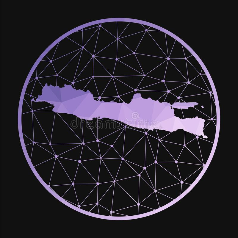 Java icon. Vector polygonal map of the island. Java icon in geometric style. The island map with purple low poly gradient on dark background. Technology royalty free illustration