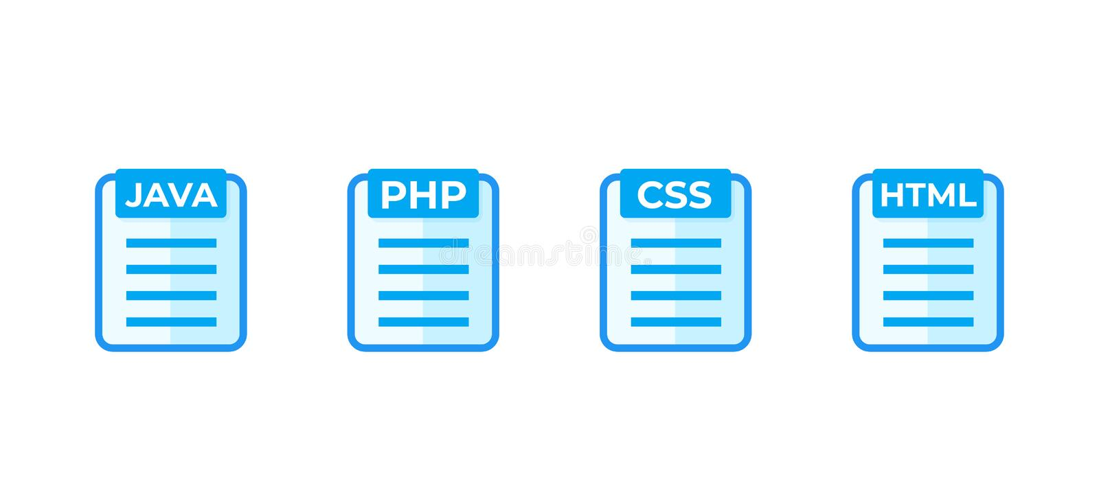 JAVA, PHP, CSS, HTML code vector icons on white. Eps 10 file, easy to edit royalty free illustration